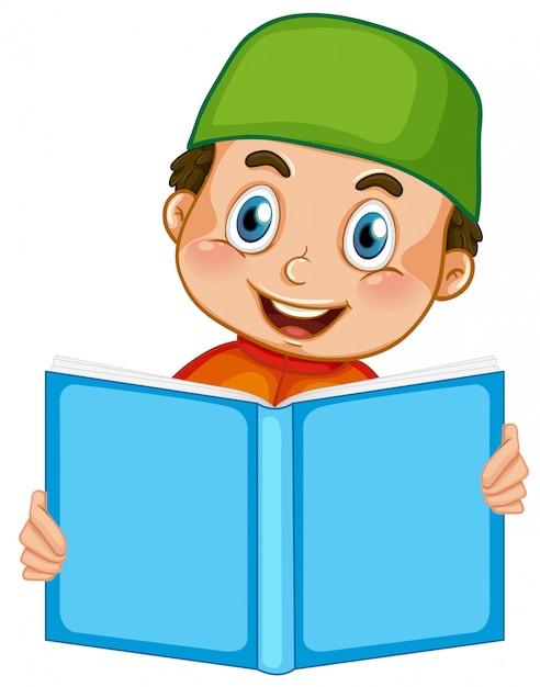 Un garçon musulman lisant sur fond blanc Vecteur gratuit