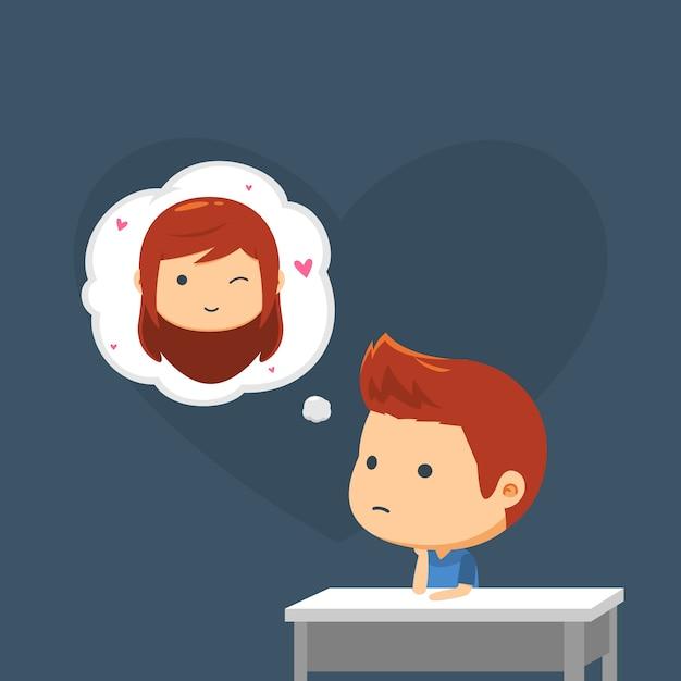 Un garçon pense à sa petite amie Vecteur Premium