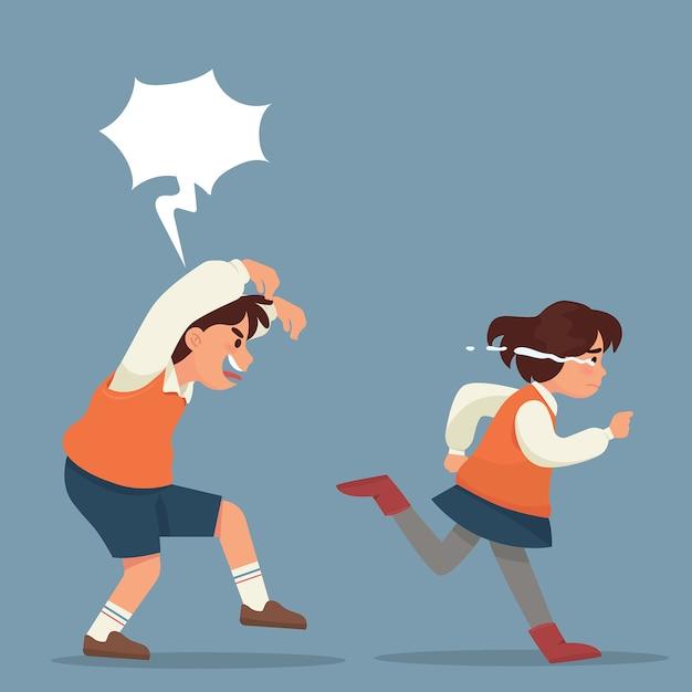 Garçon perturbe une fille à courir en pleurant Vecteur Premium