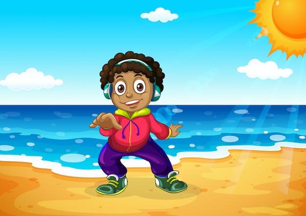 Un garçon à la plage Vecteur gratuit