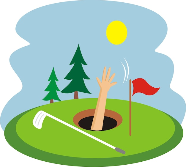 Un garçon plongé dans un trou de golf Vecteur Premium