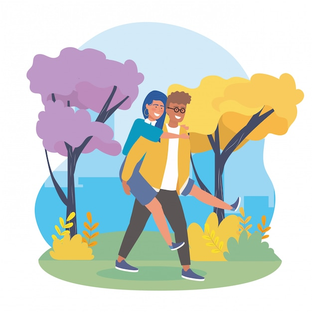 Garçon portant la fille à l'arrière avec des arbres Vecteur gratuit