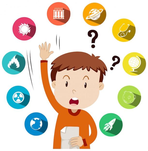 Garçon posant des questions sur le travail scolaire Vecteur gratuit