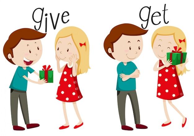 Garçon qui donne et fille obtient Vecteur gratuit