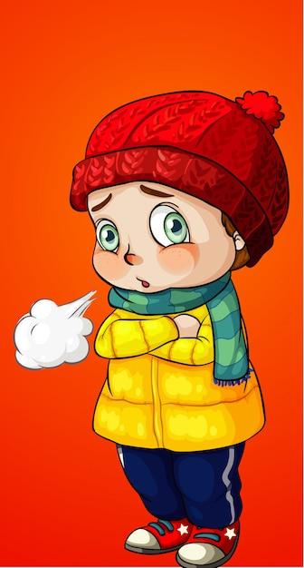 Garçon s'habille en vêtements d'hiver Vecteur Premium