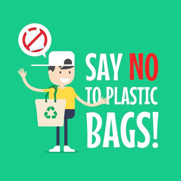 Le garçon avec un sac fourre-tout. dites non aux sacs en plastique. Vecteur Premium