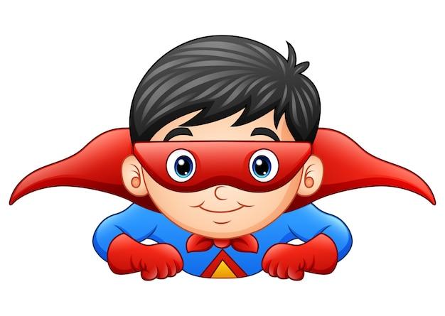 Garçon de super-héros de bande dessinée en vol Vecteur Premium