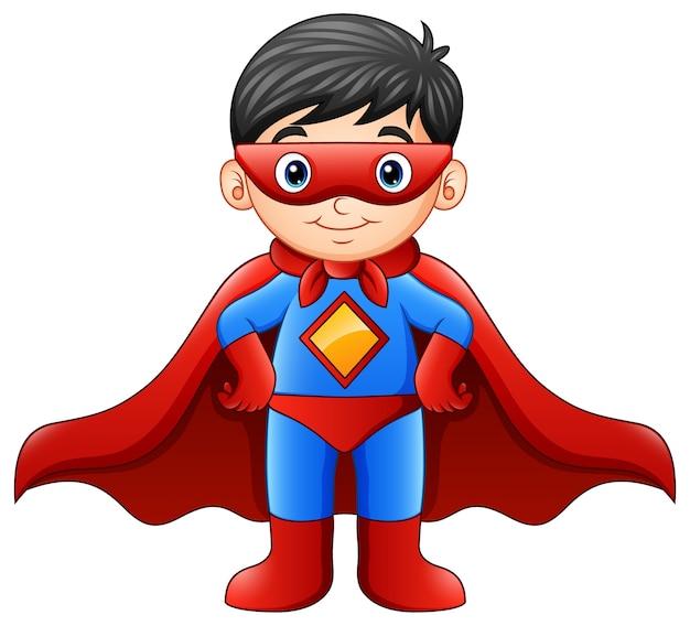 Garçon de super-héros de bande dessinée Vecteur Premium