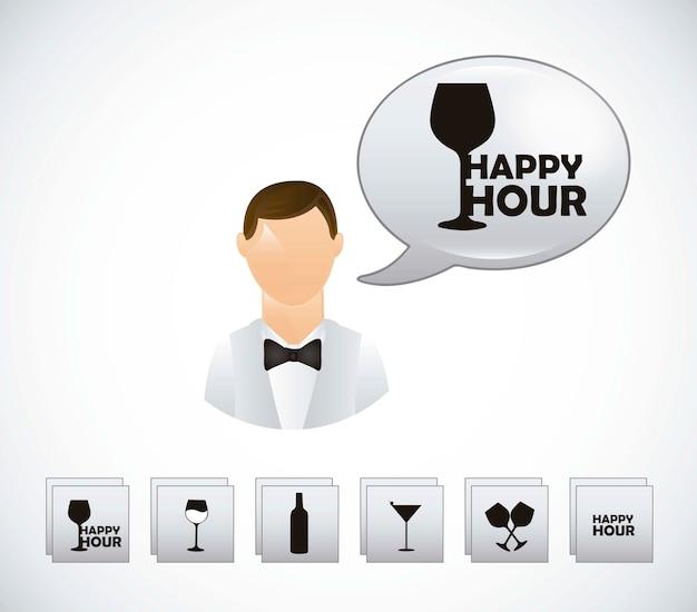 Garçon avec symboles happy hour sur vecteur fond gris Vecteur Premium