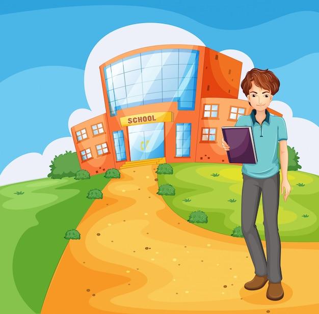 Un Garçon Tenant Un Livre Debout à L'extérieur Du Bâtiment De L'école Vecteur gratuit