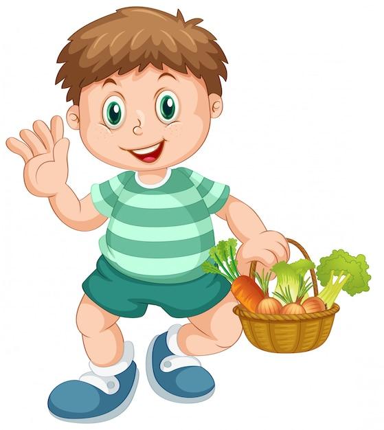 Un garçon tenant un panier de légumes Vecteur gratuit