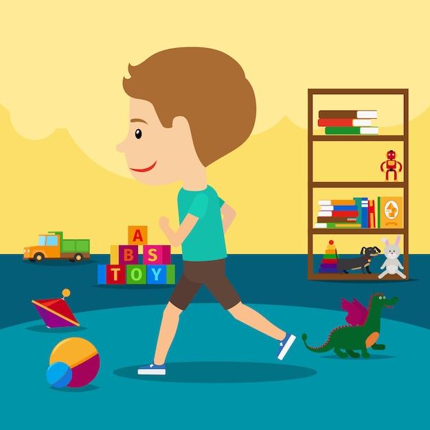 Garçon tourne autour de jouets à la maternelle Vecteur Premium