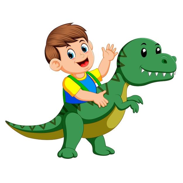 Garçon utilisant le costume de tyrannosaurus rex et agitant sa main Vecteur Premium
