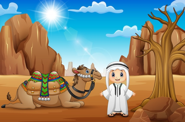 Garçons arabes avec des chameaux dans le désert Vecteur Premium