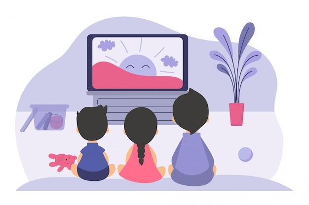 Garçons Et Filles Assis à L'écran Du Téléviseur Vecteur gratuit