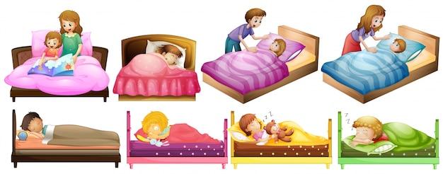 Les garçons et les filles dans l'illustration du lit Vecteur gratuit