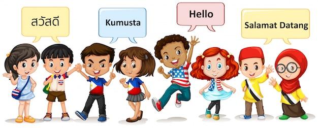 Garçons et filles de différents pays Vecteur gratuit