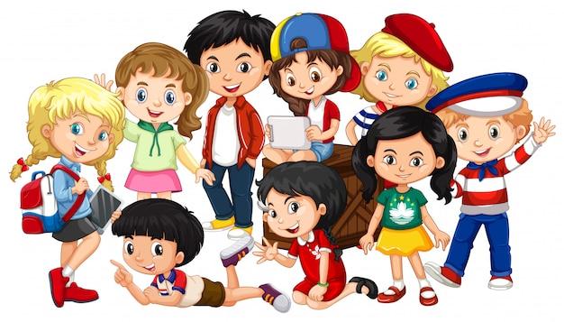 Garçons et filles ensemble dans un groupe Vecteur gratuit