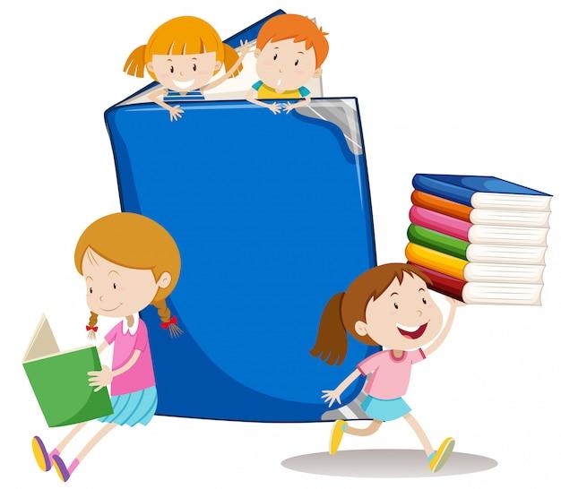 Garçons et filles avec gros livre Vecteur gratuit