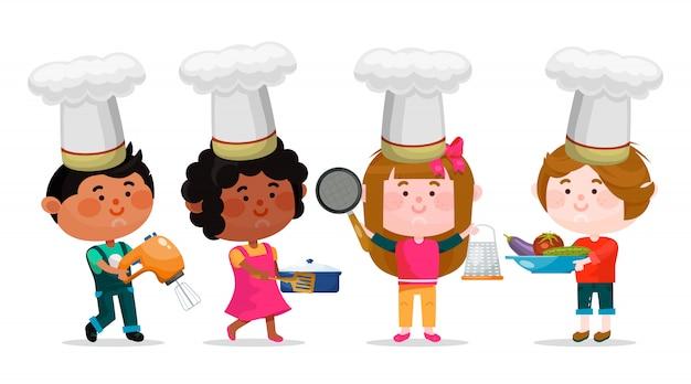 Garçons et filles personnages de dessins animés avec des ustensiles de cuisine sont debout et souriant Vecteur Premium