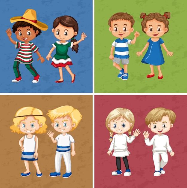 Garçons et filles de quatre couleurs différentes Vecteur gratuit