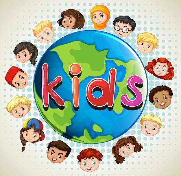 Garçons et filles à travers le monde Vecteur gratuit