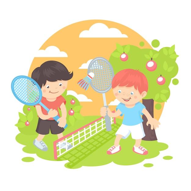 Garçons jouant au badminton Vecteur gratuit
