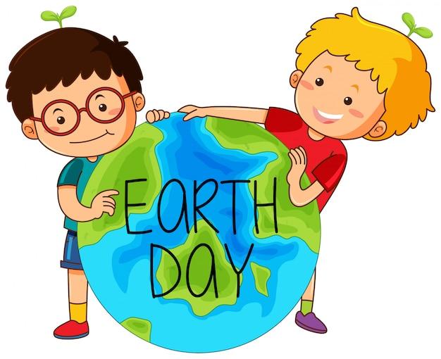 Garçons avec le jour de la terre Vecteur gratuit