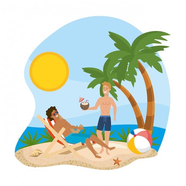 Garçons avec maillots de bain d'été Vecteur Premium