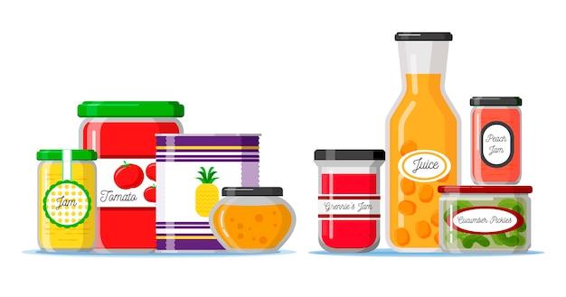 Garde-manger Design Plat Avec Des épices Et Des Ingrédients Vecteur Premium