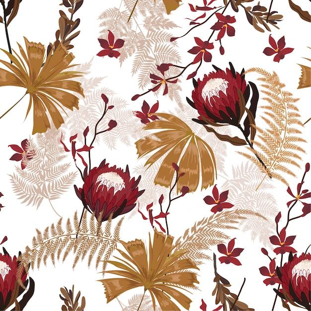 Garden protea motif floral dans les nombreuses sortes de fleurs Vecteur Premium