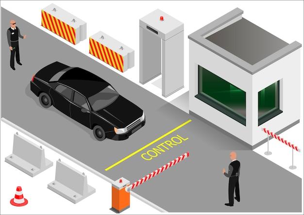 Gardes De Bâtiment Isométriques Ou Points De Douane. Zone De Transport D'entrée. Graphiques Vectoriels Vecteur Premium