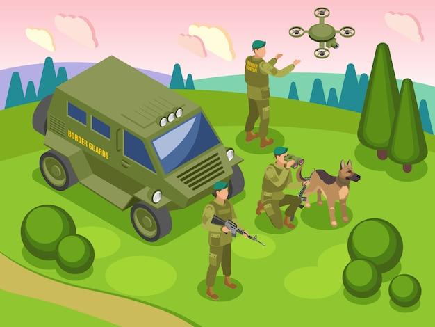 Gardes-frontières Pendant Le Service Frontalier Avec Chien Et Véhicule Vecteur gratuit