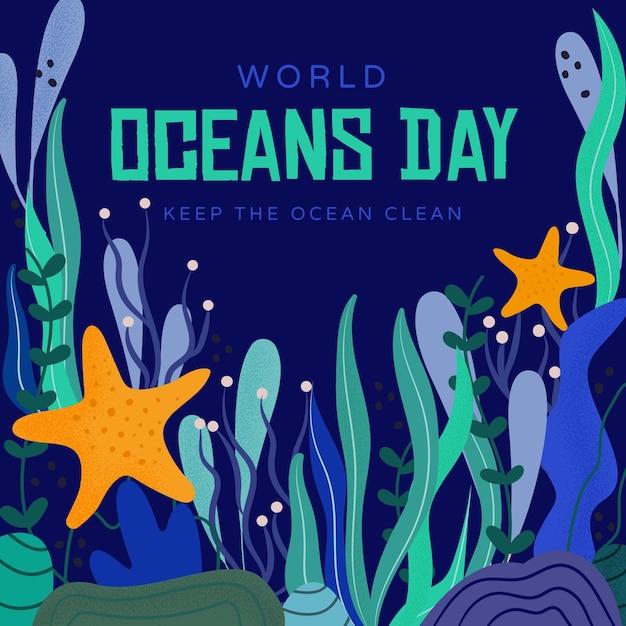 Gardez L'eau Propre Jour De L'océan Dessiné à La Main Vecteur gratuit