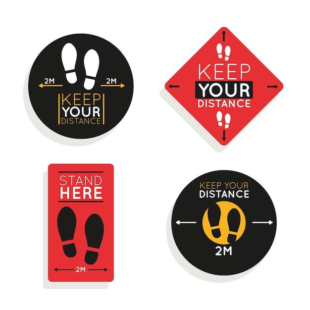 Gardez Votre Pack De Panneaux De Distance Vecteur Premium