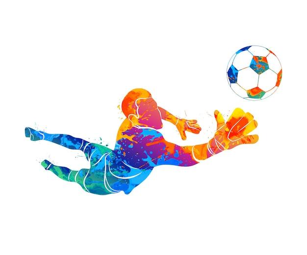 Le Gardien De But De Football Abstrait Saute Pour Le Ballon Soccer à Partir D'une éclaboussure D'aquarelles. Illustration De Peintures. Vecteur Premium