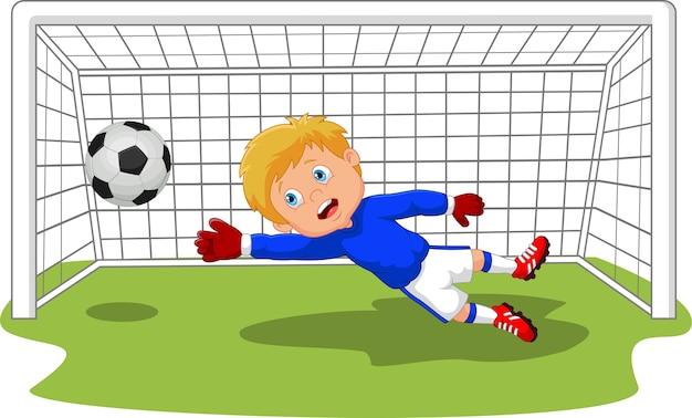 Gardien de but de football soccer sauver un but Vecteur Premium