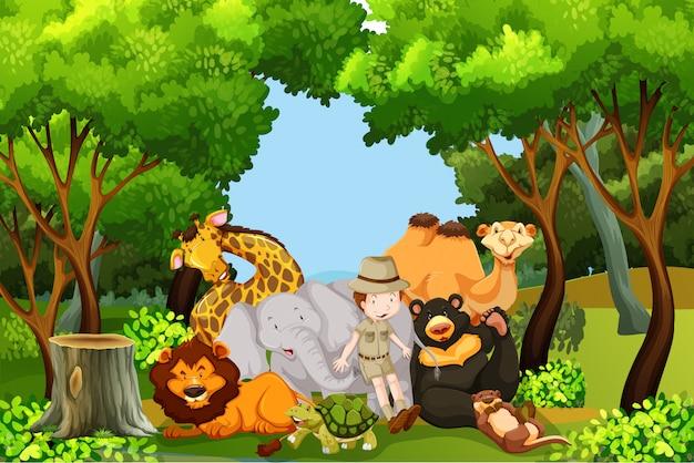 Un gardien de zoo avec des animaux Vecteur gratuit