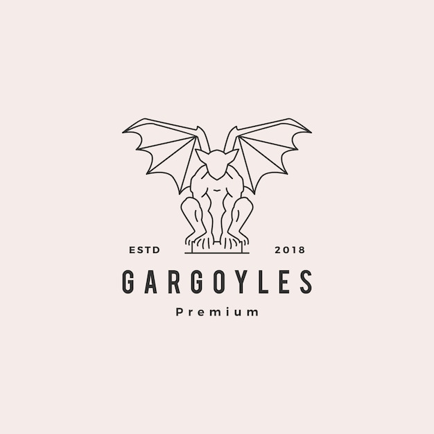 Gargouilles gargouille logo vector illustration de contour Vecteur Premium
