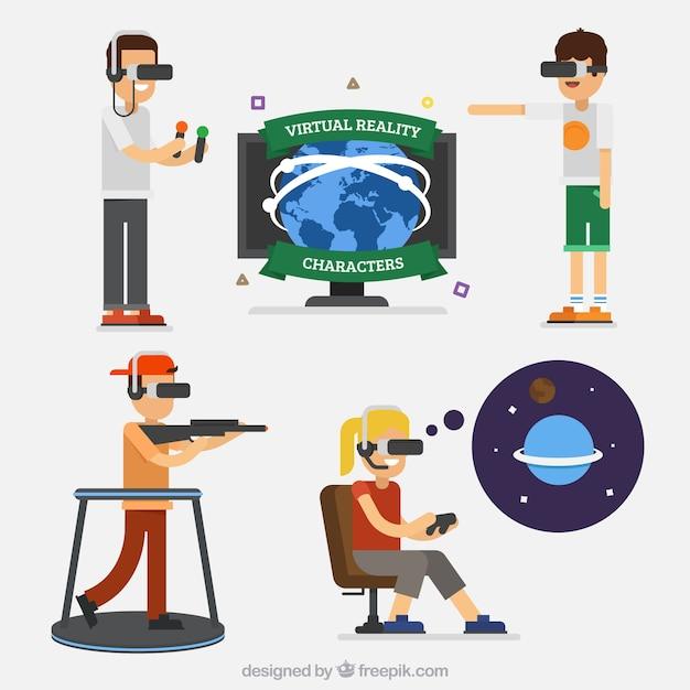 Les gars bénéficiant des lunettes de réalité virtuelle Vecteur gratuit