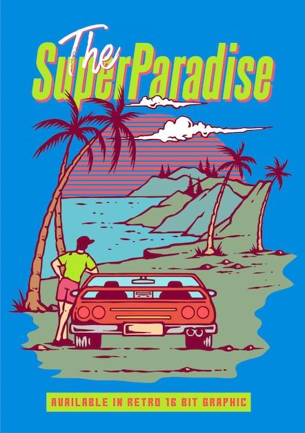 Un gars avec une voiture de sport rétro appréciant la saison estivale sur la plage et la montagne dans le jeu vidéo rétro des années 80 Vecteur Premium