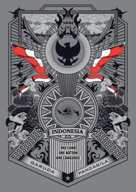 Garuda pancasila illustration Vecteur Premium