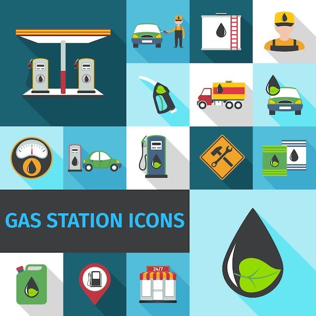 Gas Station Icons Flat Vecteur gratuit