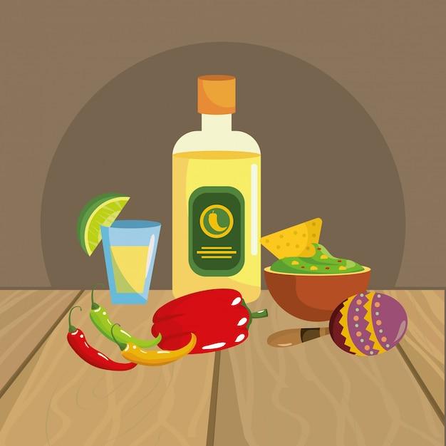 Gastronomie mexicaine Vecteur Premium