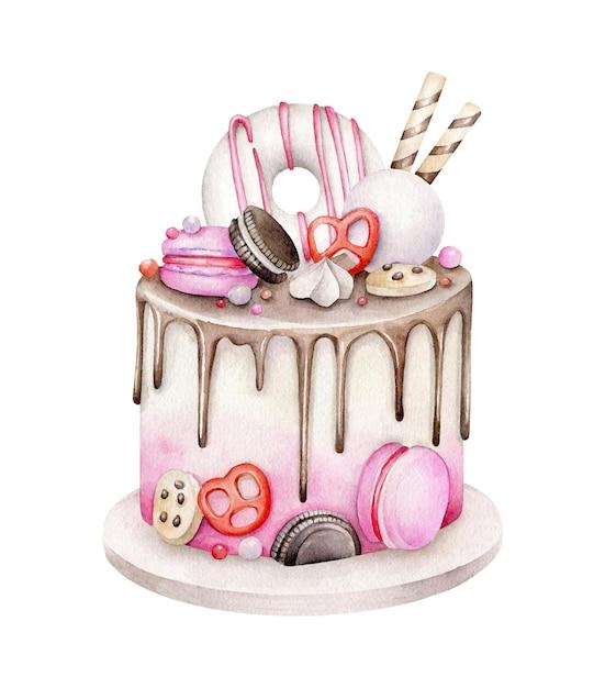 Gâteau D'anniversaire Aquarelle Isolé Sur Blanc Vecteur Premium