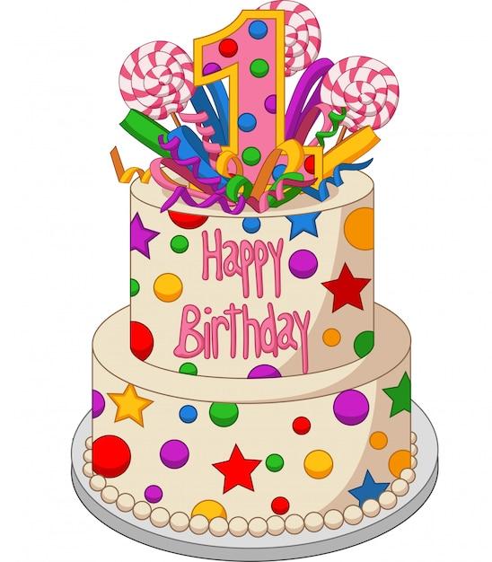 Gâteau d'anniversaire coloré sur fond blanc Vecteur Premium