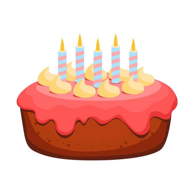 Gâteau d'anniversaire avec sept bougies Vecteur Premium