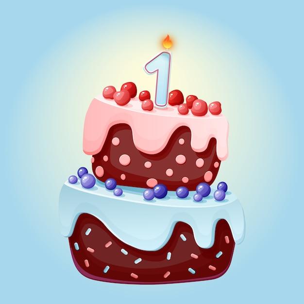 Gâteau de fête d'anniversaire dessin animé mignon un an avec une bougie. Vecteur Premium