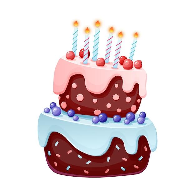 Gâteau de fête de dessin animé mignon avec des bougies. biscuit au chocolat avec des cerises et des myrtilles. Vecteur Premium