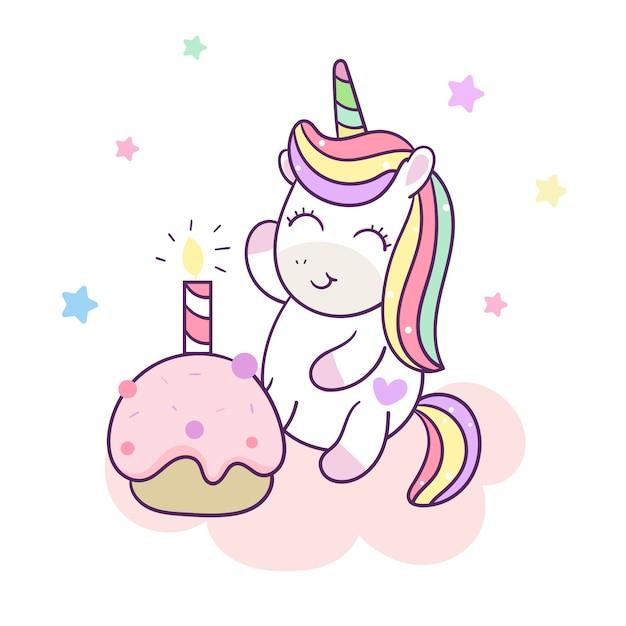 Gâteau de joyeux anniversaire vector licorne mignon Vecteur Premium